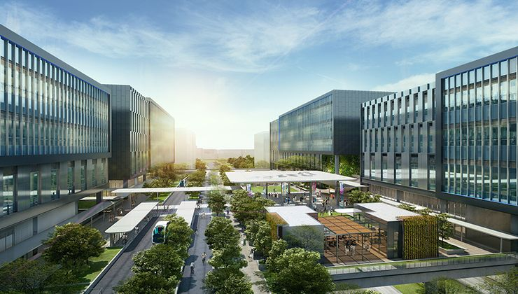 Artist's impression of Bulim Square at Jurong Innovation District (JID)